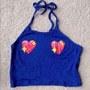 OMIGHTY heart emoji halter crop top